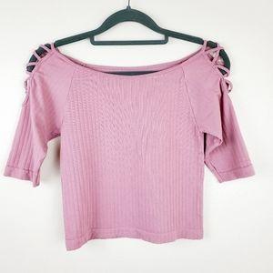 Skylee | Pink Crossed Cold Shoulder Crop Top